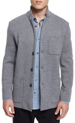 Vince Button-Down Wool Knit Blazer, Heathered Cinder $395 thestylecure.com