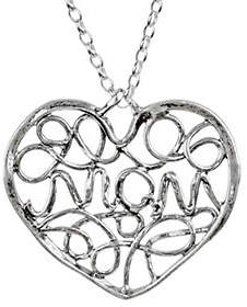 Or Paz Sterling Silver Mom Heart Pendant w/ Chain