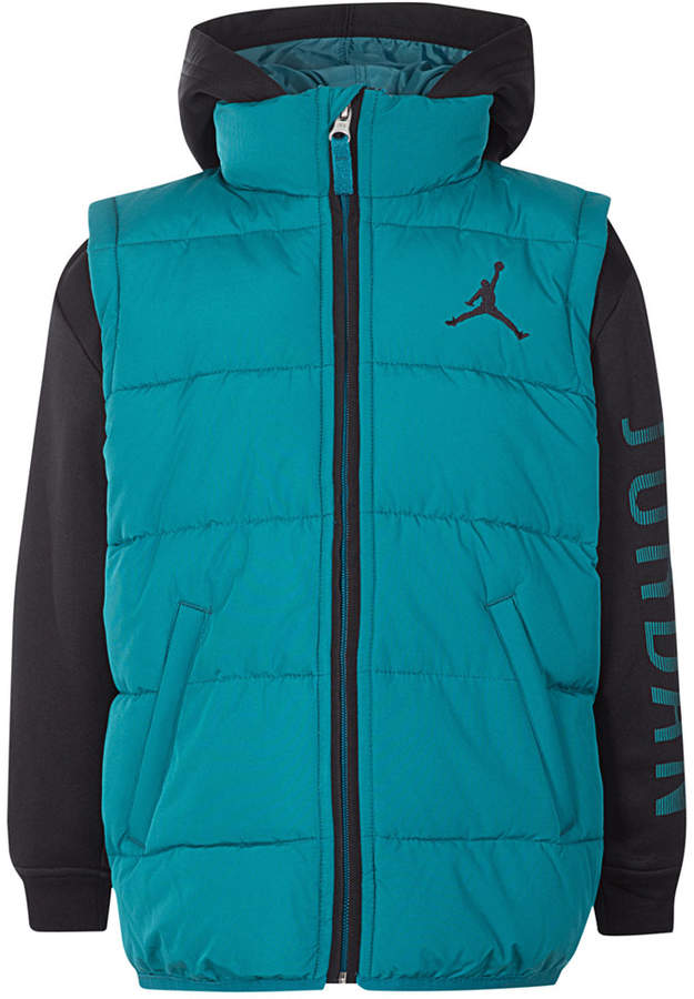 AJ Hooded Layered-Look Puffer Vest Jacket, Little Boys