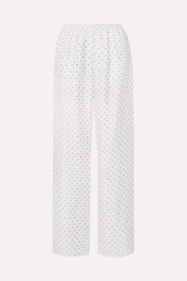 Theory Printed Silk-satin Twill Wide-leg Pants - White
