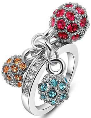 Aokarry Wedding Ring, Silver Plated Ball Crystal Diamond Engagement Wedding Ring Women