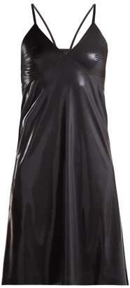 Norma Kamali V Neck Metallic Slip Dress - Womens - Black