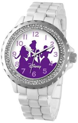 Disney Women's Princess Enamel Sparkle Watch - White