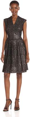 Chetta B Women's Metallic Lace Fit and Flare Seamed Dress