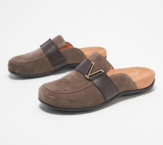 Vionic Suede Buckle Slip-on Mules - Maude