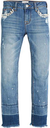 Hudson Karen Ankle Skinny Crop Jeans w/ Paint Splatter & Pearly Beads Size 7-16