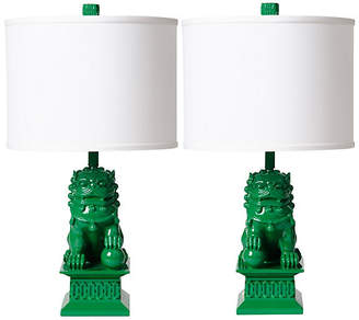 Barbara Cosgrove Set of 2 Foo Dog Table Lamps - Kelly Green