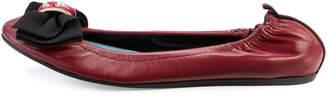 Lanvin Bow Leather Ballet Flats, Garnet