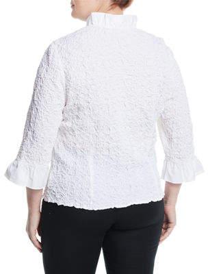 Go Silk Ruffle-Sleeve Puckered Poplin Shirt, Plus Size