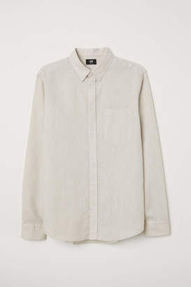 H&M Slim Fit Linen-blend Shirt - Light beige - Men