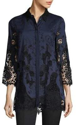 Elie Tahari Clark Embroidered Blouse