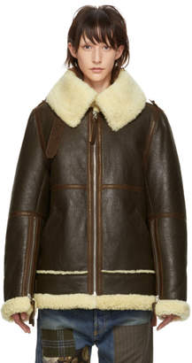 Acne Studios Brown Shearling New Velocite Jacket