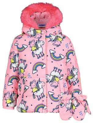 George Peppa Pig Pink Shower Resistant Coat with Mittens