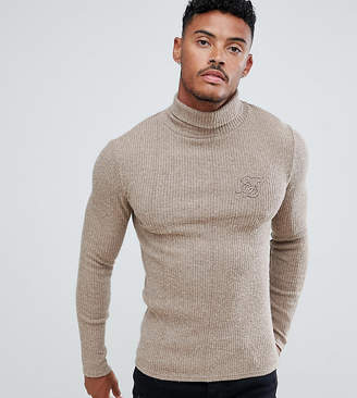 SikSilk knitted roll neck sweater in camel exclusive to ASOS