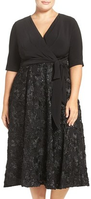 Alex Evenings Tea Length Jersey & Rosette Lace Dress (Plus Size) $199 thestylecure.com