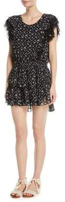 LoveShackFancy Katie Scoop-Neck Sleeveless Floral-Print Dress w/ Lace Trim