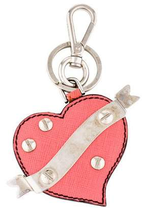 Prada Saffiano Heart Keychain