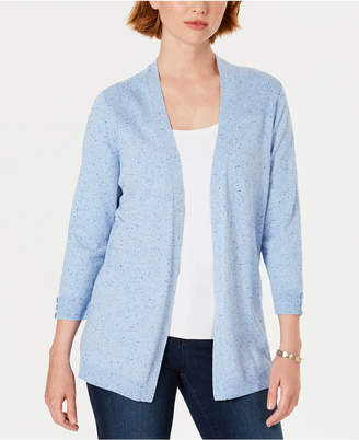 Karen Scott Ribbed-Yoke Cardigan Sweater