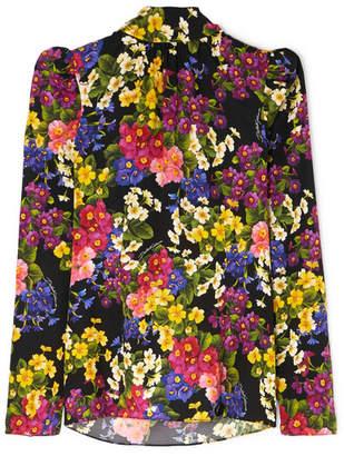 Dolce & Gabbana Floral-print Silk-blend Satin Turtleneck Top - Black
