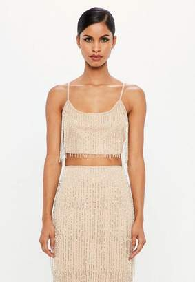 Missguided Nude Fringe Embellished Crop Top