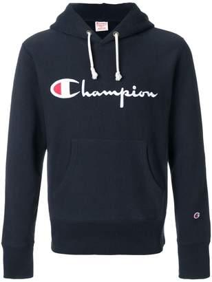 Champion logo patch hooded sweatshirt