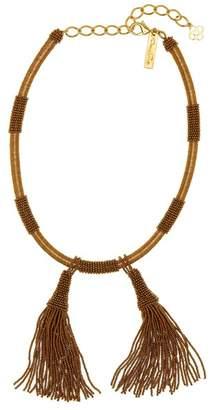 Oscar de la Renta Wrapped & Beaded Tassel Necklace
