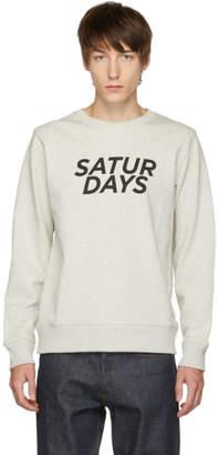Saturdays NYC Grey Bowery Gothic Italic Crewneck Sweater
