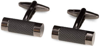 Bey-Berk Bey Berk Gunmetal Finished Round Bar Cufflinks
