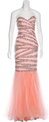 Terani Couture Embellished Mermaid Gown w/ Tags