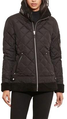 Women's Lauren Ralph Lauren Faux Shearling Trim Quilted Bomber Jacket $200 thestylecure.com