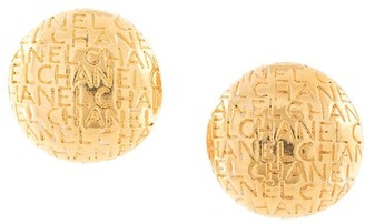 Chanel Pre-Owned logo embossed button earrings