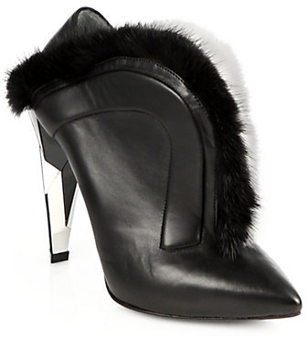 Fendi Fur-Trimmed Leather Ankle Boots