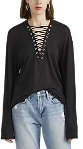 IRO Women's Alety Lace-Up Linen T-Shirt - Black Size Xs