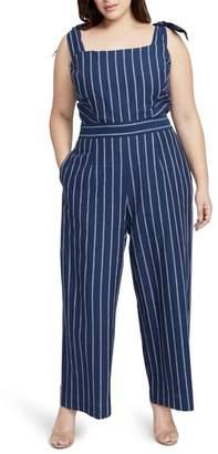 Rachel Roy Stripe Linen & Cotton Jumpsuit