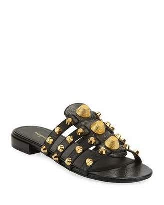 Balenciaga Mixed-Stud Leather Slide Flat Sandal