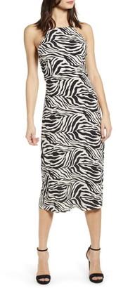J.o.a. Zebra Print Halter Neck Midi Dress