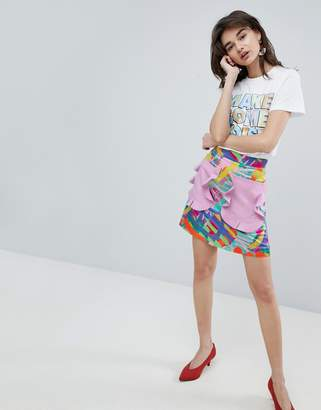 House of Holland Contrast Frill Pocket Mini Skirt