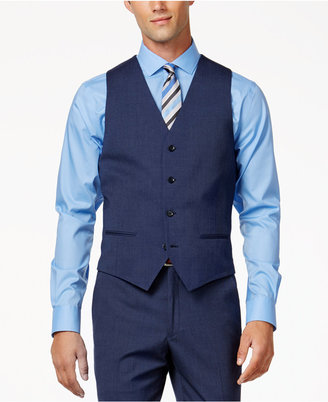 Alfani Men's Traveler Medium Blue Solid Slim-Fit Vest, Only at Macy's $75 thestylecure.com