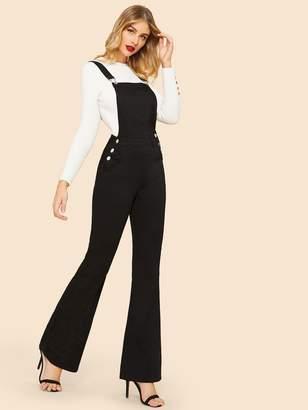Shein Button Detail Flare Leg Denim Pinafore Jumpsuit