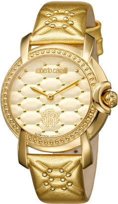 Roberto Cavalli By Franck Muller 36mm Studded Watch w/ Leather Strap, Golden
