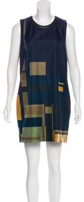 Barbara Bui Leather-Trimmed Silk Dress