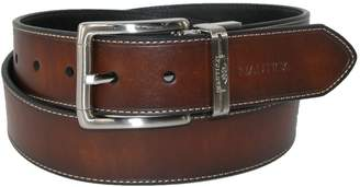 Nautica Mens Leather 1 3/8 Inch Heat Creased and Contrast Stitch Reversible Belt