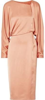 Tom Ford Draped Cutout Silk-Satin Midi Dress
