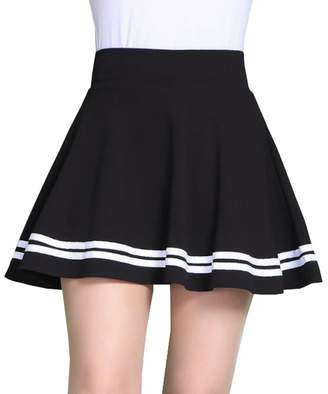 Mywine Summer Women Solid High Waist Pleated Skirt Korean Mini A-line Dresses S
