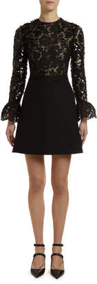 Valentino Flare-Sleeve Heavy Lace Sequined Dress
