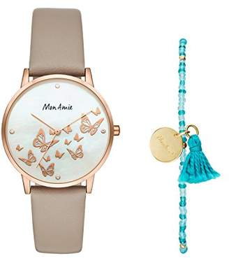 Mon Amie Women's Novelty Opportunity Quartz Stainless Steel and Leather Watch and Bracelet Set
