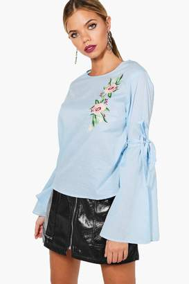 boohoo Mary Flare Sleeve Embroidered Blouse