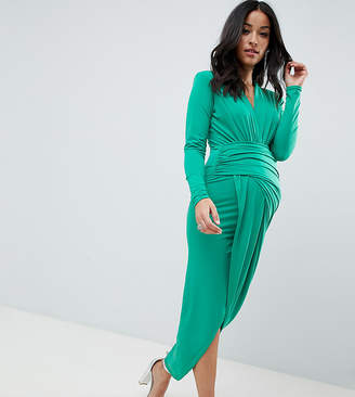 0a7b12e07682 Queen Bee plunge front wrap maxi dress in green