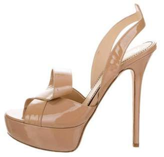 Jerome C. Rousseau Patent Leather Platform Slingback Sandals Nude Patent Leather Platform Slingback Sandals