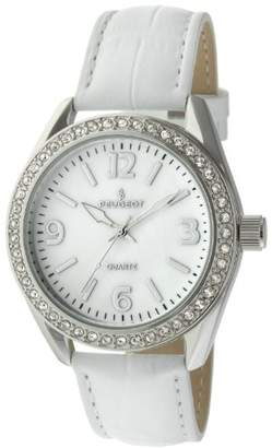 Peugeot Women's Large Silver Case Swarovski Crystal White Thick Leather Band Dress Watch 3006WT